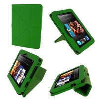 rooCASE Origami Dual-View (Green) Vegan Leather Folio Case Cover for Amazon Kindle Fire HD 7 Inch T