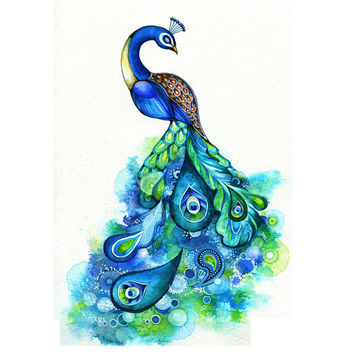 Peacock - Abstract Watercolor Fantasy Painting - Nature Inspired Bird Wall Art
