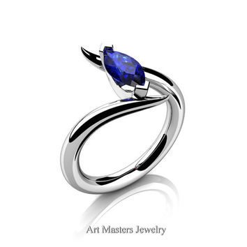 Avant Garde 14K White Gold 1.0 Carat Marquise Blue Sapphire Solitaire Engagement Ring R418-14KWGBS