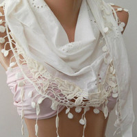 White  - Elegance Shawl / Scarf with Lace Edge,