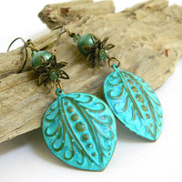 Turquoise Dangle Earrings Long Antique Brass Green Crystal Handmade