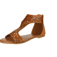 Womens Retro Gladiator Brown Trendy Ankle Wrap Back Zipper Sandals