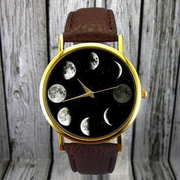 Moon Phase Watch | Astronomy Watch | Space Watch | Ladies Watch | Mens Watch | Gift Idea | Custom Watch | Fashion Accessory | Classic Watch