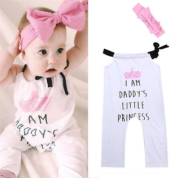 Princess Newborn Baby Girls Romper New Arrival Summer Jumpsuit Outfit Set Clothes Headband
