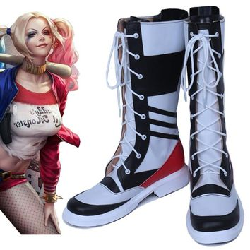 Batman Suicide Squad  Harley Quinn male version cos Cosplay Shoes Boots shoe boot   #NT06 Halloween Christmas