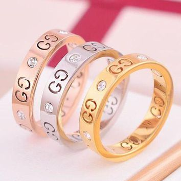 PEAPYV2 GUCCI Popular Ladies Men Logo Hollow Geometric Pattern Diamond Ring Titanium Steel Tail Ring Joint Ring Gold