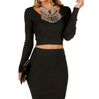 Sale-charcoal Ribbed Sweater Crop Top