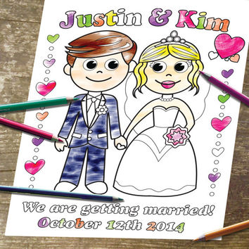 Printable Personalized Coloring Page Digital Wedding Party Invitation childrens kids  Instant Download PDF /JPEG file