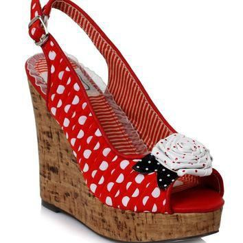 4 Inch Sandal Polka Dot Wedge (10,Red)