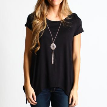 Black Asymmetrical Hem Top with Detachable Necklace