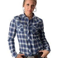 Tin Haul® Women's Purple & Blue Plaid Long Sleeve Western Shirt