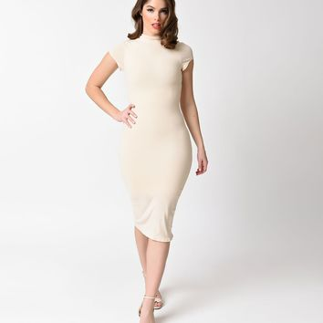 Unique Vintage 1960s Antique Ivory Stretch Knit Cap Sleeve Holly Wiggle Dress