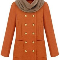 Double Breasted Wool Coat Orange  S003148