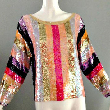 ViNtAgE 60's Rainbow Stripe Sequin Top Iridescent Sequined Beaded Jumper Cocktail Party Trophy Dress Top Pride Blouse Disco 70's 80's Glam