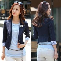 Korean Style 3/4 Sleeve Womens One Button Business Suits Blazer Outerwear Tops