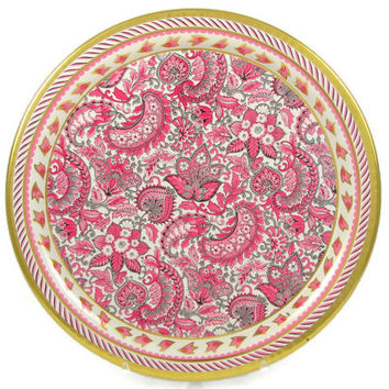 Pink Paisley - Set of 6 Daher Metal Trays, Viennese Style # 826, Tin Litho English Tea Room Tableware or Barware, Made in England