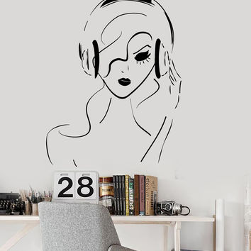 Vinyl Wall Decal Teen Girl Woman Musical Art Headphones Music Stickers Mural Unique Gift (ig4987)