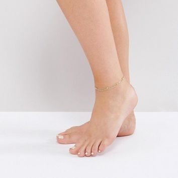 ASOS Pack of 2 Fine Rope and Ball Chain Anklets at asos.com