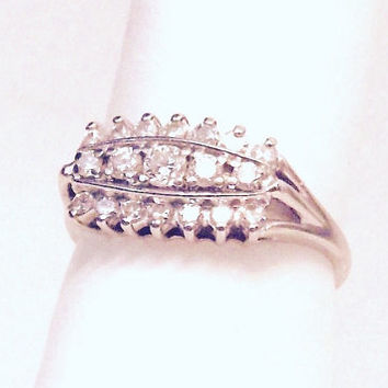 Vintage 14K Diamond Ring/ White Gold