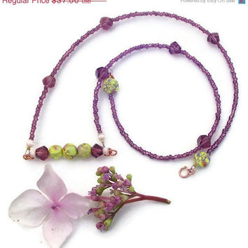 Purple crystal beaded bar necklace seed beaded by BrandonArtists