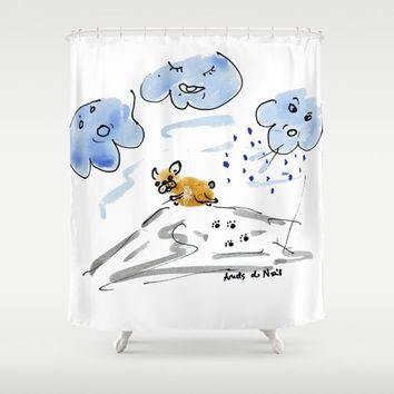 No storm for Bouboule, french bulldog art print Shower Curtain by BoubouleArt