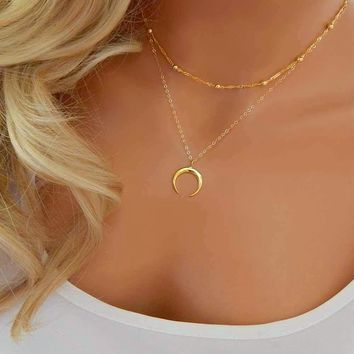 Crescent Moon Charm Pendant Boho Minimal Necklace-Gold/Silver Tone
