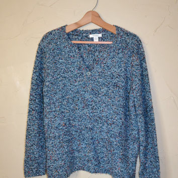 Vintage Sweater Pullover Sweater 90s Textured Fuzzy Sweater Blue Sweater Oversized Sweater Size 1X Jumper