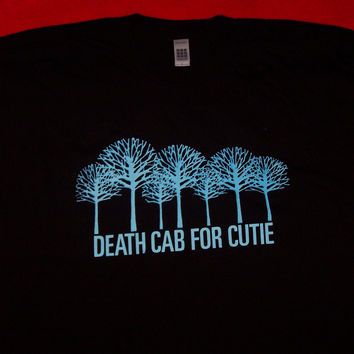 Death Cab For Cutie T-Shirt Trees Logo Black Size Large