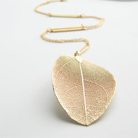 "Gold Necklace - Real Leaf Long Necklace - 26"" - Matte Gold Chain Necklace with Gold Stick Connectors"