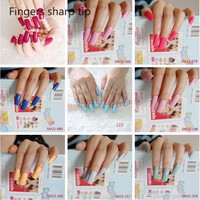 20pcs/set new Super Long Fasle Nail Tips Candy Flat Fake Nails Full Wrap for Simple Lady 11 paragraph choose