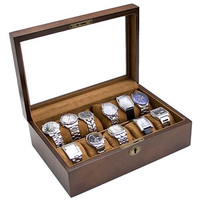 Vintage Wood Glass Clear Top Watch Display Storage Case Chest Holds 10+ Watches With Adjustable Soft Pillows