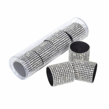 Rhinestone Wide Band Gold or Silver Napkin Rings - Set of 4