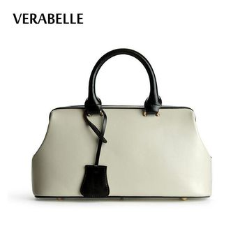 VERABELLE 2017 new arrivals Excellent quality ladies doctor bag oil-wax split leather vintage tote women OL female handbags