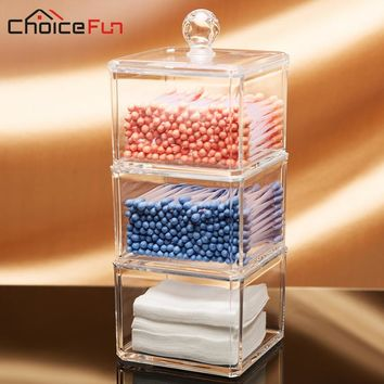 CHOICEFUN Hot Selling Clear Acrylic Storage Container Large Jewelry Box Q-tip/Cotton Swab Bathroom Storage Organizer SF-1183