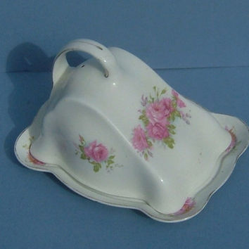 1930's Art Deco Rose Decorated Cheese Dish / Butter Dish by Myott of England