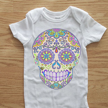 Girls Pastel Skull Bodysuit. Day of the Dead clothes for baby. Sugar Skull Graphic Toddler tshirt. Trendy Infant Romper. 3, 6, 12, 18 months
