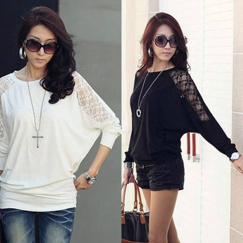Spring 2015 fashion for women clothing t-shirt Loose Batwing long sleeve women lace stitching tshirt  tops plus size S- 3XL = 1945713924