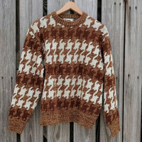 Vintage 70s Men's Sweater - Houndstooth - Mod - Retro Sweater - Brown Sweater - Hipster - S/M