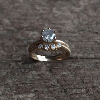 OOAK Galaxy Gray Diamond Engagement and Wedding Band Set - .75 carat solitaire + diamond band set