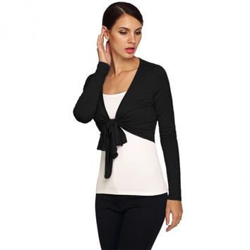 New Stylish Ladies Women Casual Long Sleeve Solid Tie Front Cropped Shrug Top Cardigan