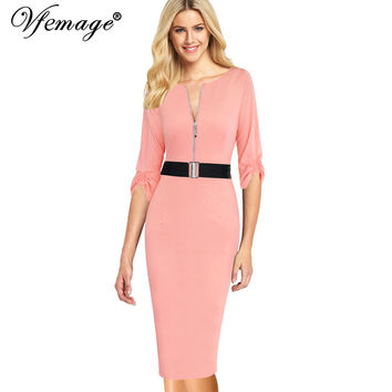 Vfemage Womens Elegant Zipper Vintage Belted 2017 Spring Summer Casual Wear To Work Office Bodycon Pencil Sheath Dress 4825