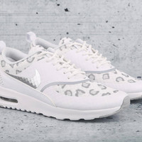 Nike Air Max Thea Cheetah Print Run in White/Wolf Grey/PurePlatinum with Swarovski Crystals - Bling Nikes, Bling Shoes, Blinged Out Nikes