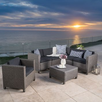 Pueblo Outdoor Wicker V-Shaped Sectional Sofa Set with Club Chair