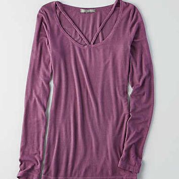 Don't Ask Why V-neck Long Sleeve T-Shirt, Rose