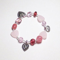 Pink Glass and Pewter Heart Sweetheart Valentine Beadwork Stretch Bracelet