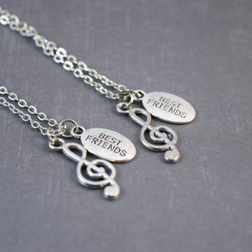 Music - Friendship Necklaces - Best Friends -Cleft Music Note - Love - BFF Necklace Set - Antique Silver - Cute Charms - Set of 2