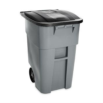50 Gallon Gray Commercial Heavy-Duty Rollout Trash Can