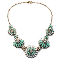 Fashion Women Fancy Floral Faux Stone Necklace