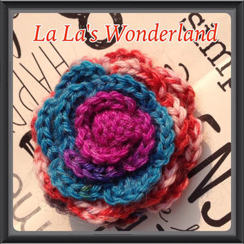 Multicolor pink mauve blue turquoise magenta crochet rose hair clip for girls and babies festivals concerts gifts gift bags ooak