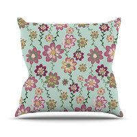"Nika Martinez ""Romantic Floral in Mint"" Pink Teal Throw Pillow"